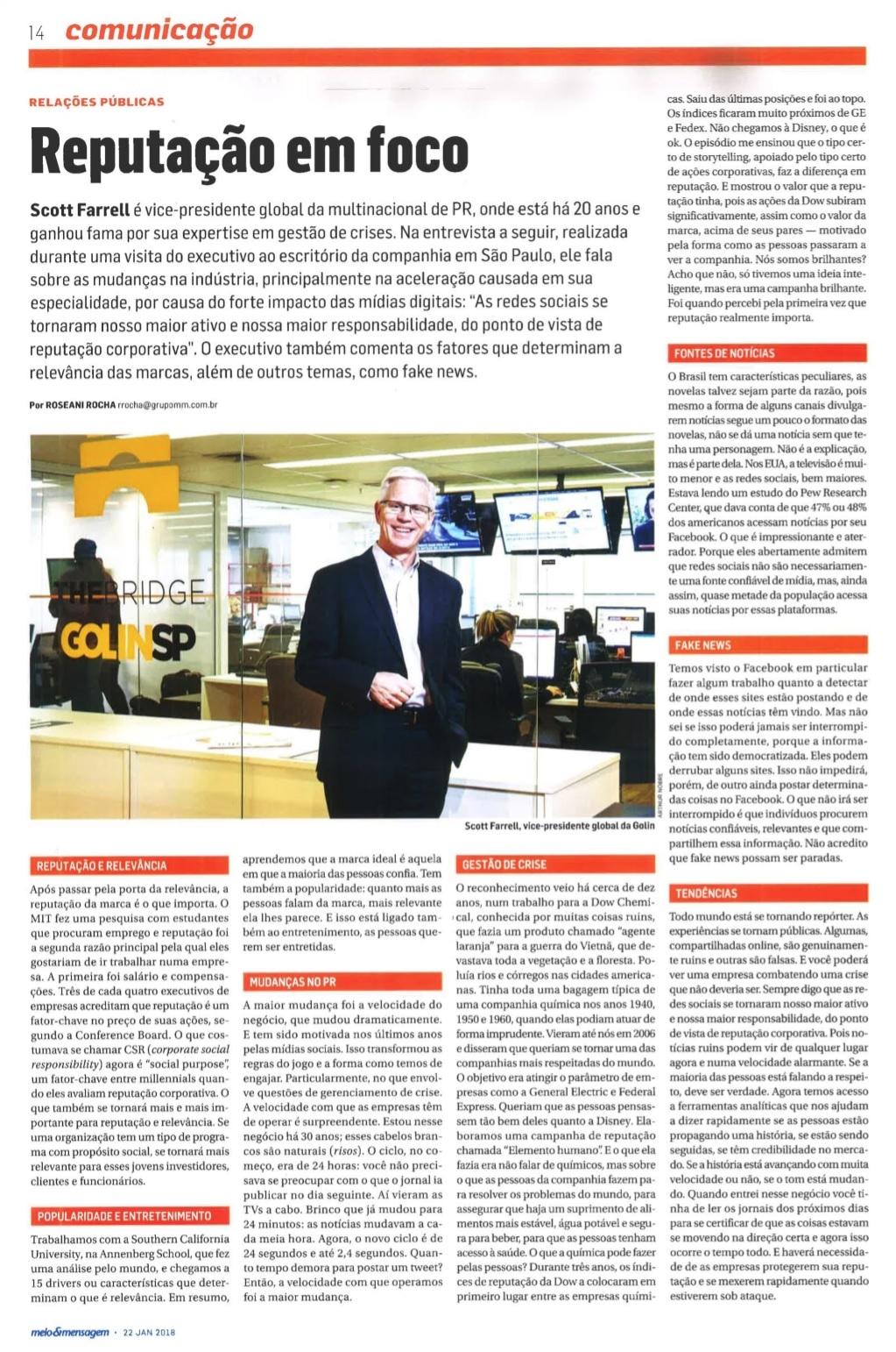 Entrevista com Scott Farrel para a revista Meio & Mensagem.