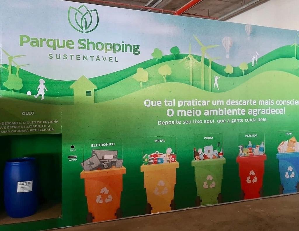 Espaço para coleta de recicláveis é instalado no Parque Shopping Bahia